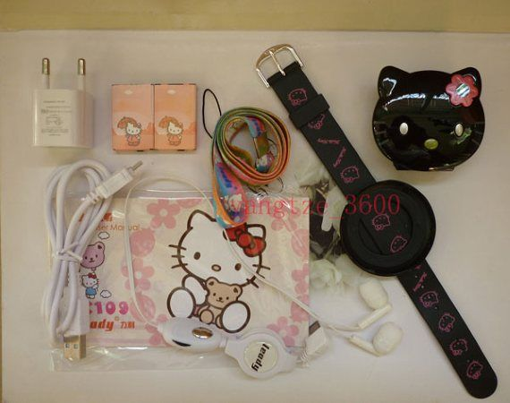 c109 Hello Kitty watch cell phone mp4+1G CARD BLACK