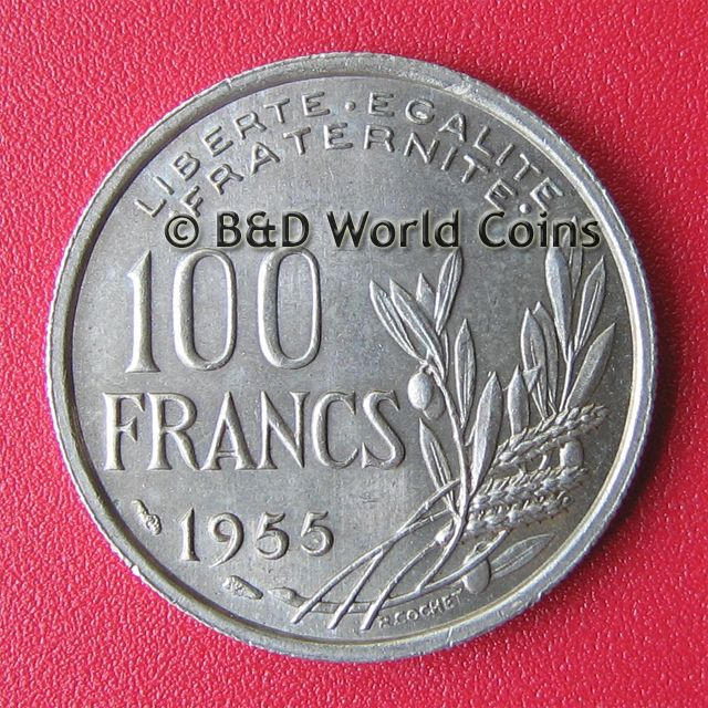 FRANCE FRENCH 1955 100 FRANCS LUSTROUS FIELDS 24mm COPPER NICKEL COIN