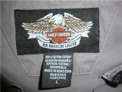MENS HARLEY DAVIDSON GARAGE EMBROIDERED PATCHES BUTTON DOWN SHIRT