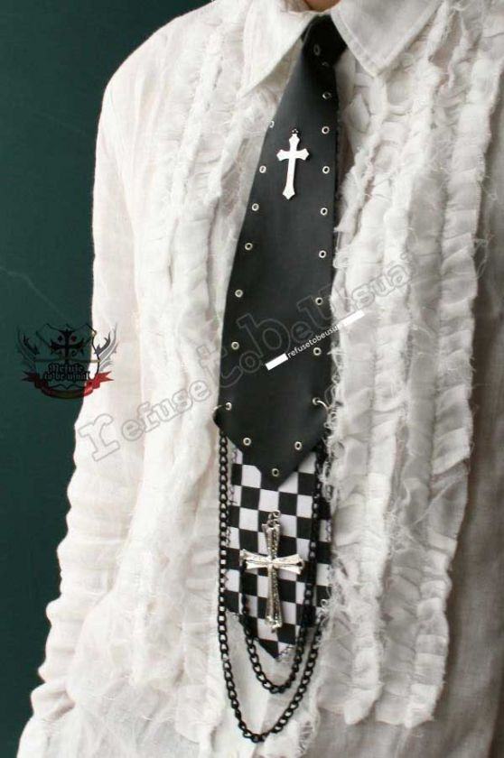 GOTHIC DOLL Visual Kei Punk 2 Layer Checker Neck Tie L