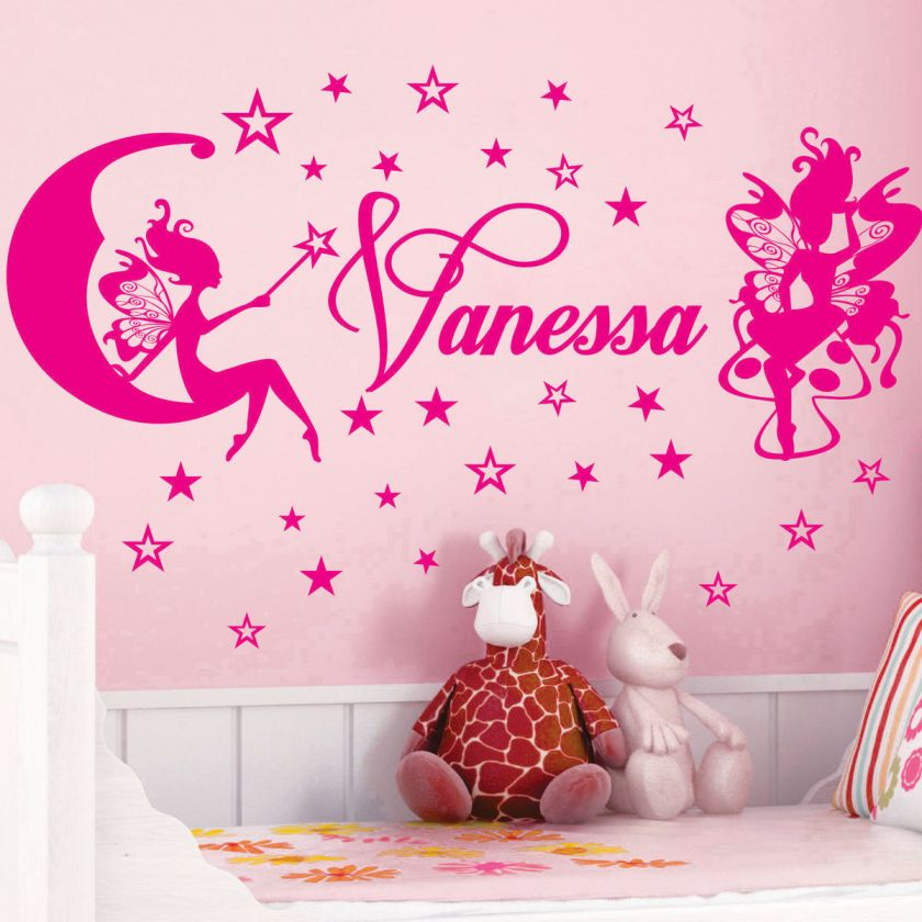FAIRIES & STARS ** Name Personal Vinyl Wall Decals Stickers Art