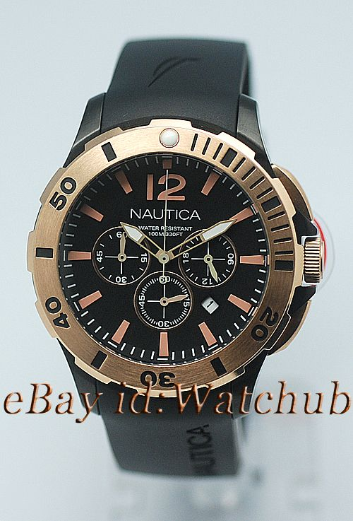 2011 NAUTICA MENS BFD 101 ROSE GOLD RING CHRONOGRAPH 330FT/100M WATCH