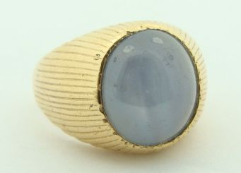 Mens 14K Yellow Gold Blue Star Sapphire Ring