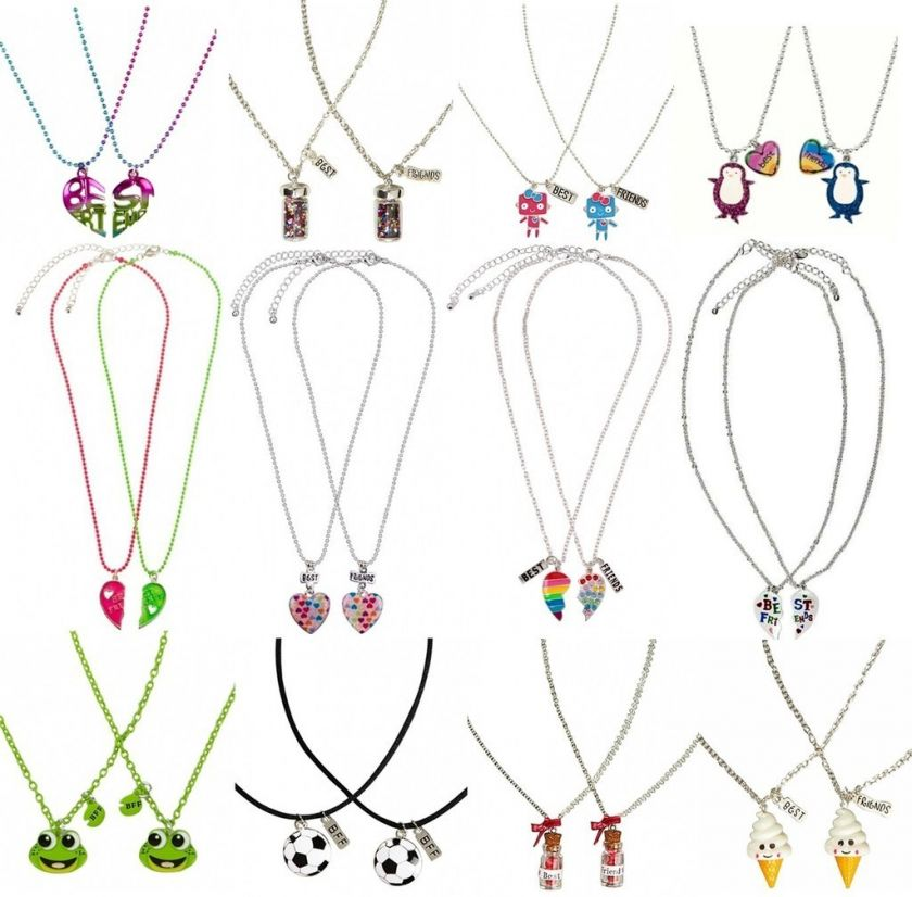 BFF Best Friends 2pc Necklace Set Heart/Soccer/Frog & More NEW