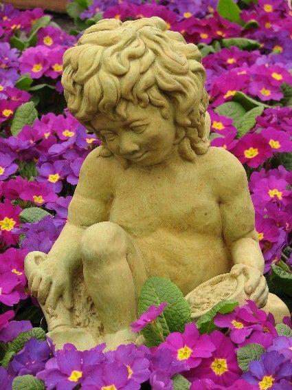 GARDEN CHERUB ANGEL 13 Outdoor Statue Cast Concrete