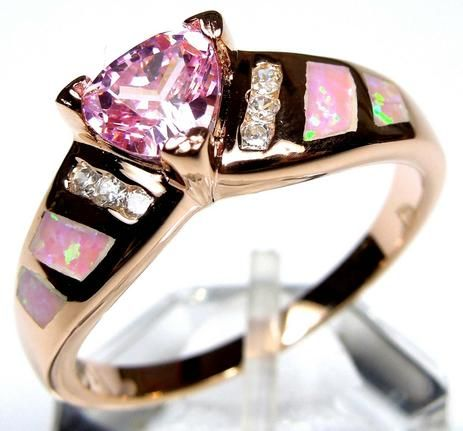 Gold plated Sterling Silver Pink Fire Opal and Pink Topaz ring