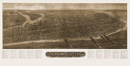 Old Map Atlantic City New Jersey 1910 Atlantic County