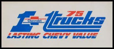 1975 Chevy Chevrolet Truck Paint Chip Color Chart Orig.