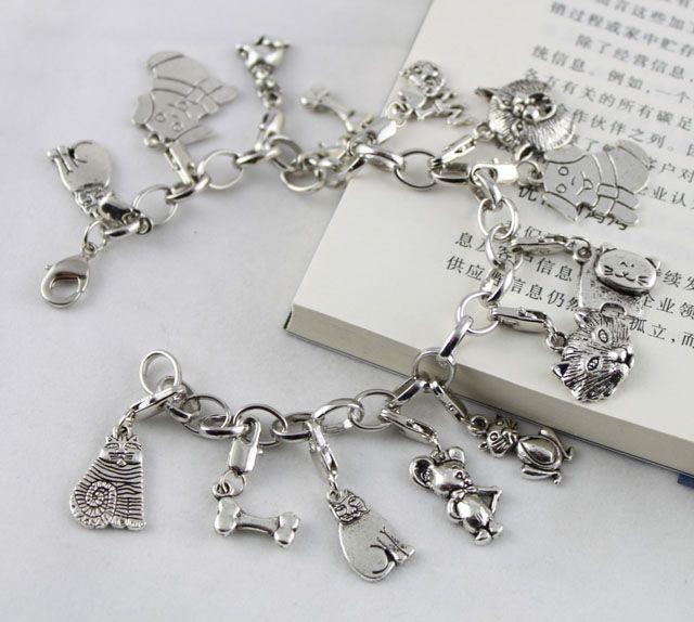 Tibetan Silver Dog & Cat Charm Bracelets
